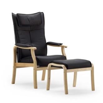 Haslev lænestol med  læder