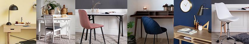 Indret et lækkert lille hjemmekontor med skriveborde og stole fra stolespecialisten