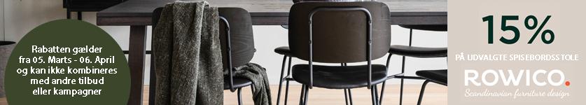 15% rabat på udvalgte spisebordsstole fra rowico i marts måned