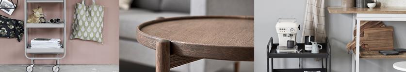 rulleborde fra stolespecialisten til den lille lejlighed til den ældre der har brug for at bord der både kan bruges ved lænestolen i sofaen eller ved spisebordsstolen